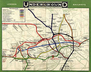 1908 map of the underground system in London. (From the London Transportation Museum).